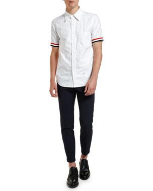 89f2e8588850 Thom Browne Men s Tricot-Trim Short-Sleeve Oxford Shirt