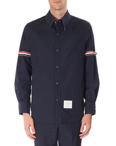 Men's Tricot Arm Bands Shirt Jacket