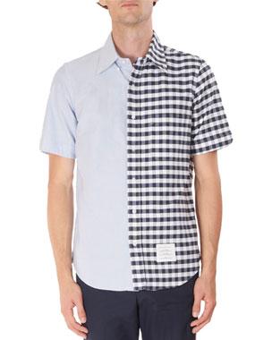 7f71da2b6e2f Thom Browne Men s Short-Sleeve Oxford Gingham Spliced Shirt