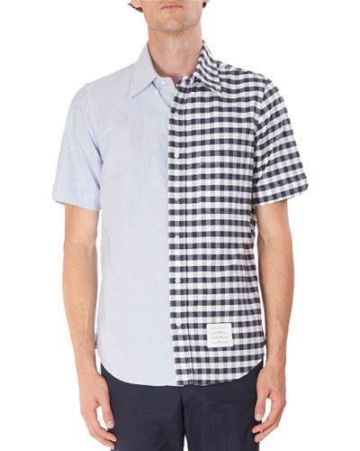 Men's Short-Sleeve Oxford Gingham Spliced Shirt