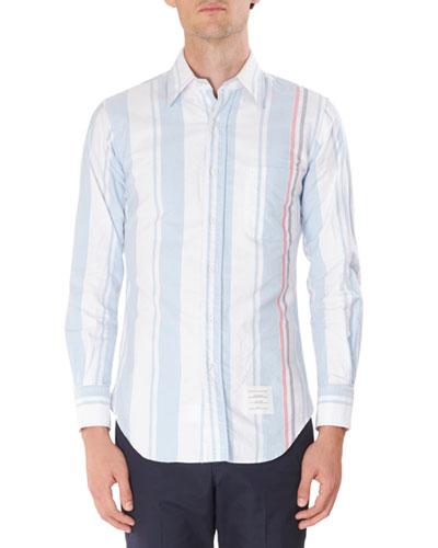 Men's Stripe Oxford Faded Tricot Stripe Sport Shirt