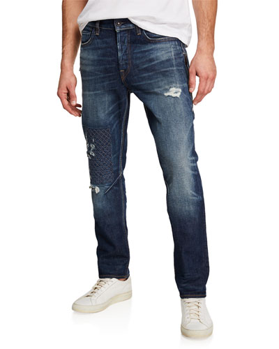 Men's Sartor Ripped Moto Jeans with Zip Detail