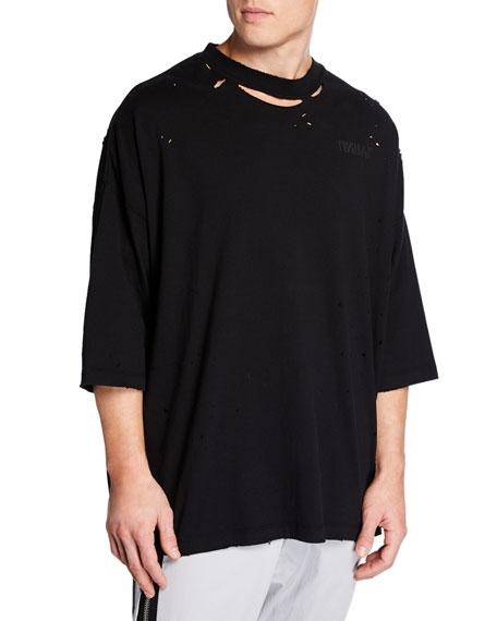 Ben Taverniti Unravel Project T-shirts MEN'S DISTRESSED T-SHIRT WITH SKULL