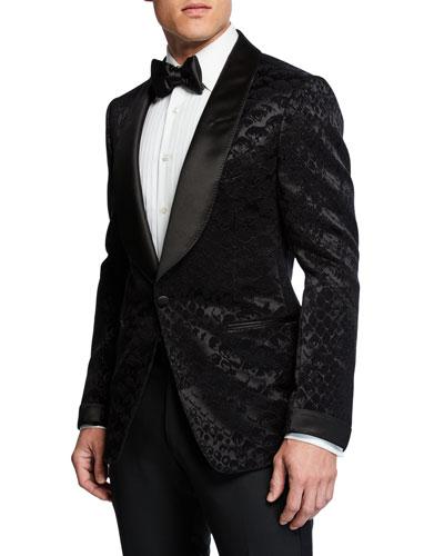 Men's Shelton Snake-Print Velvet Formal Jacket