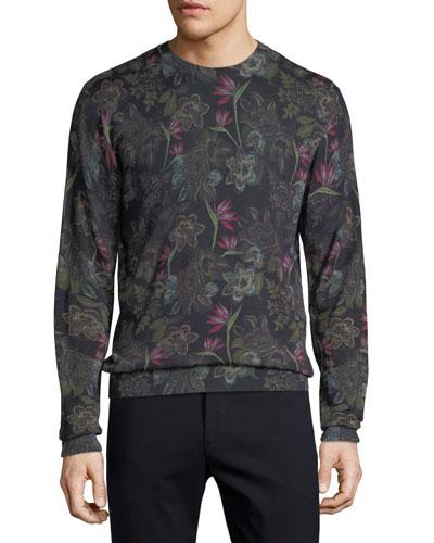 Men's Floral Wool-Blend Sweater