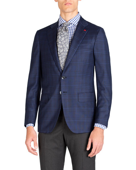 Isaia Men's Tonal Plaid Two-Button Jacket