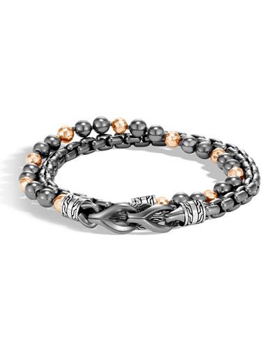 Men's Asli Classic Chain Double-Wrap Bracelet  Black/Gray