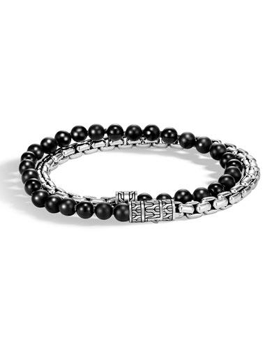 Men's Classic Chain Double-Wrap Bracelet  Black/Silver
