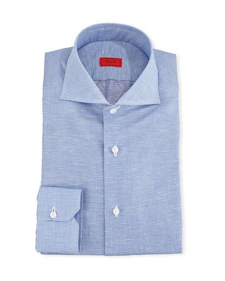 Isaia Dresses MEN'S COTTON/LINEN CHECK DRESS SHIRT