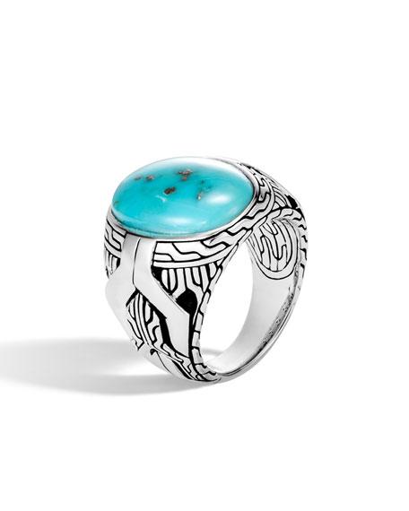 John Hardy Men's Classic Chain Signet Ring w/ Turquoise/Pyrite
