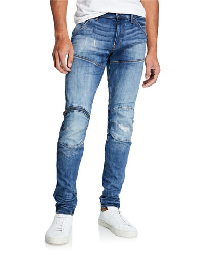 Men's Zip Knee Skinny Denim Jeans