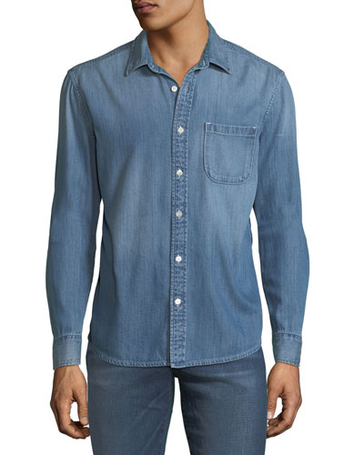 Men's Single-Pocket Denim Sport Shirt