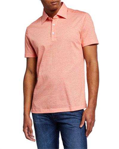 Men's Cotton Knit Polo Shirt  Orange