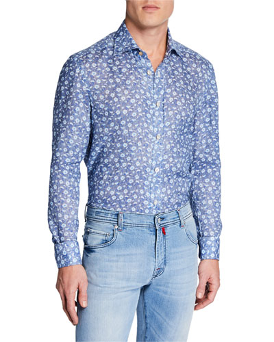 Men's Chambray Flowers Cotton Dress Shirt