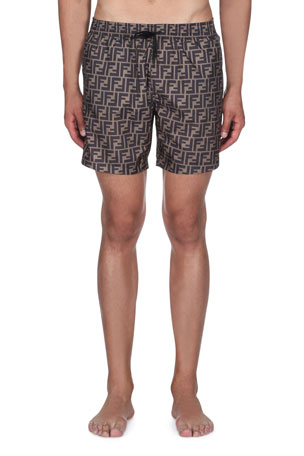 Fendi Men's Logo Allover Swim Trunks