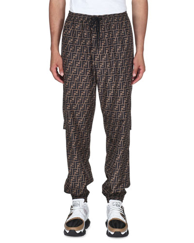 Men's Logo-Grid Wind-Resistant Pants