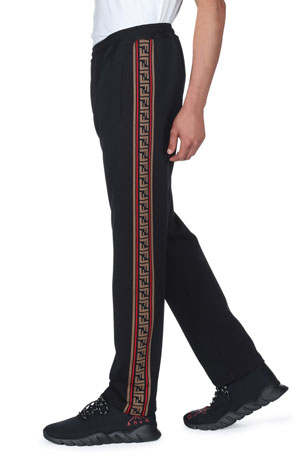 Fendi Men's Side-Striped Jersey Joggers