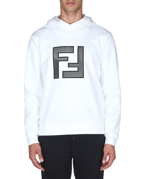 Fendi Men's Mesh Logo Hoodie