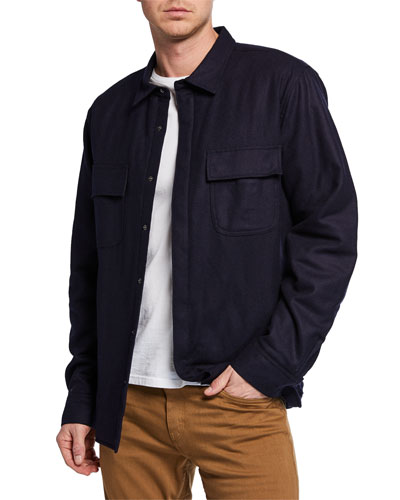 Men's Quilted Wool-Blend Shirt Jacket