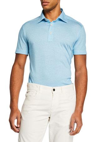 Kiton Men's Aqua Knit Polo Shirt