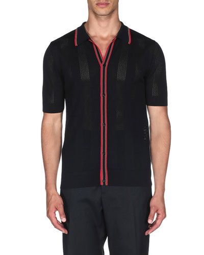 Men's Contrast Stripe Knit Polo Shirt