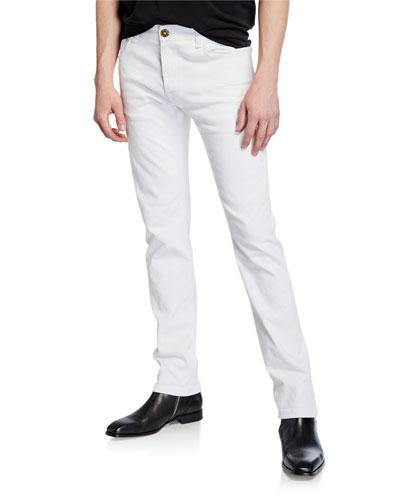 Men's Distress Logo-Patch Jeans