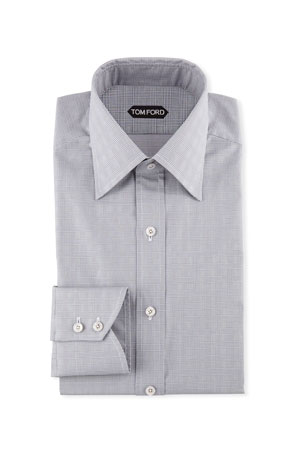TOM FORD Men's Prince of Wales Pattern Dress Shirt