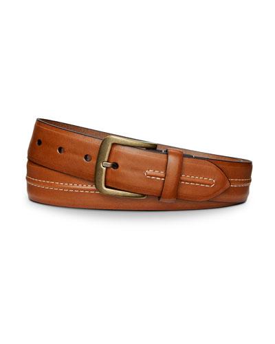 Men's Leather Belt with Center Stitch Detail