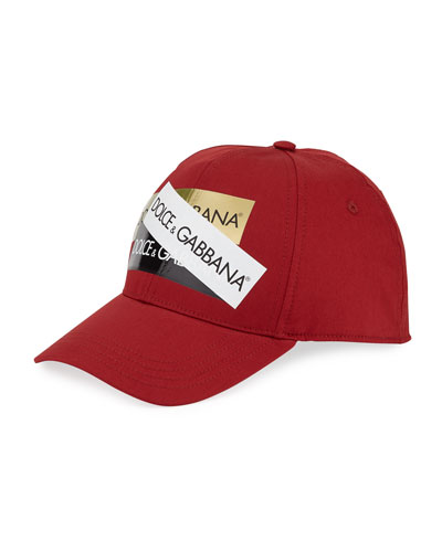 Men's Baseball Cap with Shiny Logo Tape