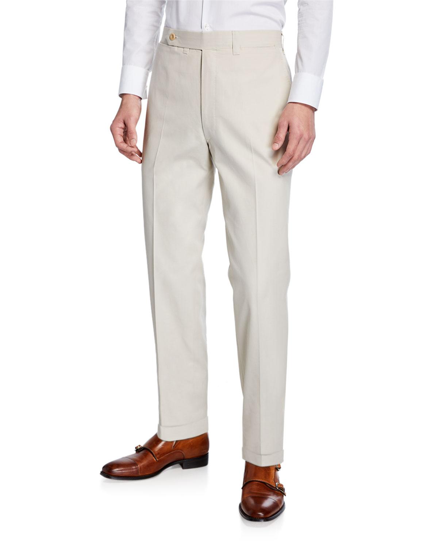 Ambrosi Napoli Tan Flat-Front Twill Trousers