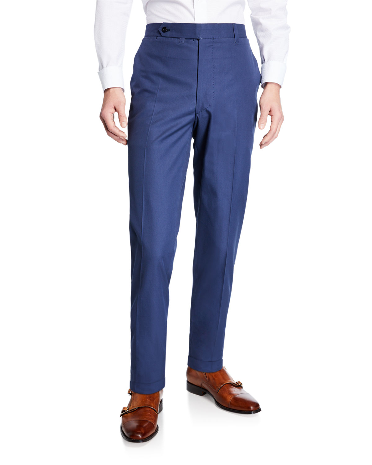 Ambrosi Napoli Navy Blue Flat-Front Twill Trousers