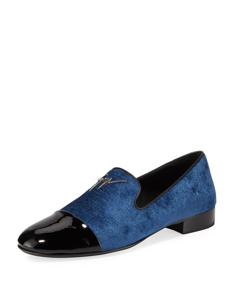 Giuseppe Zanotti Men's Velvet Cap-Toe Loafers In Blue