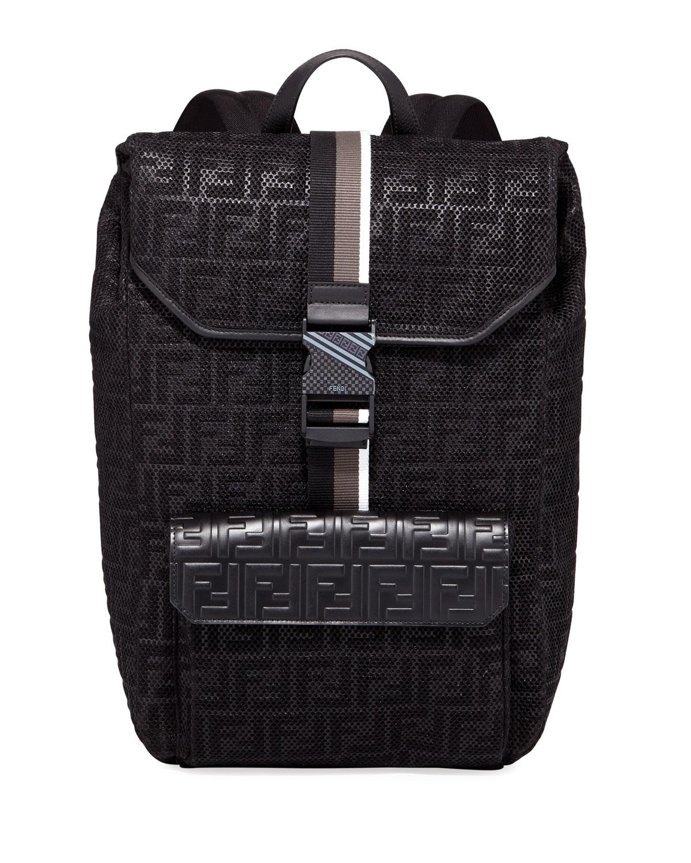 02f4e5cb956b Fendi Men s FF-Embossed Mesh Flap-Top Backpack
