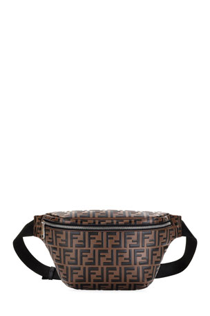 Fendi Men's Embossed Leather Belt Bag/Fanny Pack