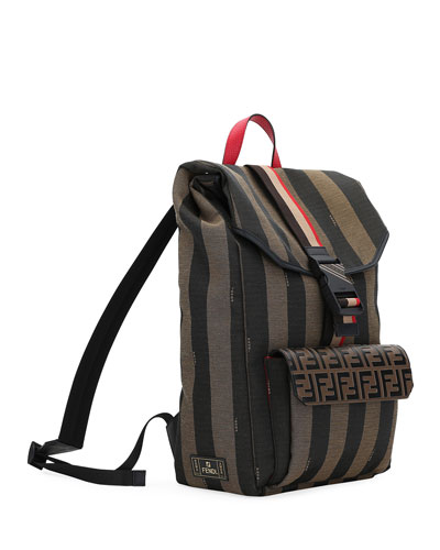 Men's Pequin Striped Canvas Flap-Top Backpack