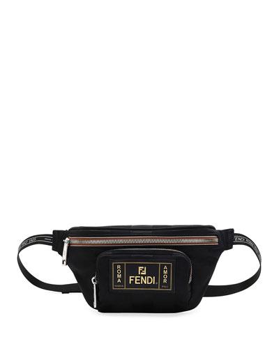 Men's Canvas Striped Belt Bag/Fanny Pack