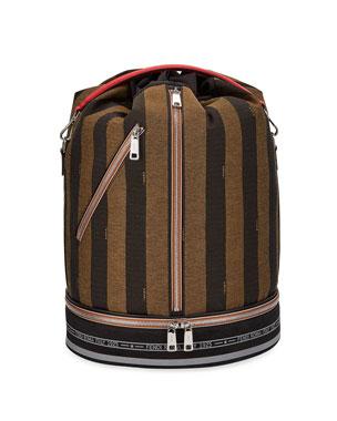 Fendi Men s Pequin Stripe Drawstring Carryall Bag 0d16e5a55a