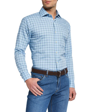 3558aa90fa Peter Millar Men's Crown Check Sport Shirt