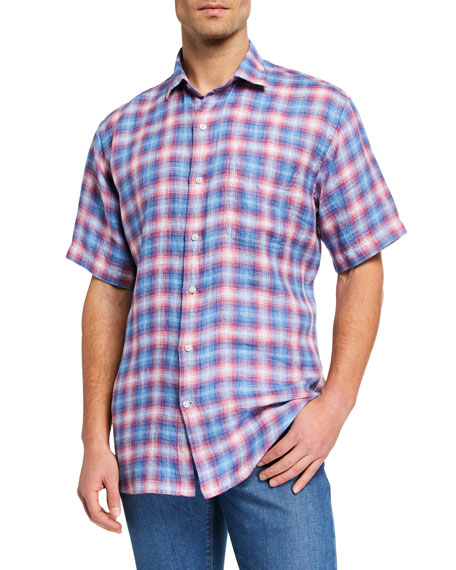 Peter Millar T-shirts MEN'S SEASIDE LINEN SHORT-SLEEVE SPORT SHIRT