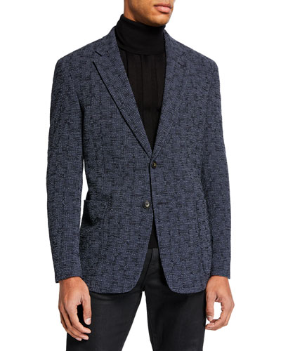 Men's Textured Seersucker Two-Button Jacket