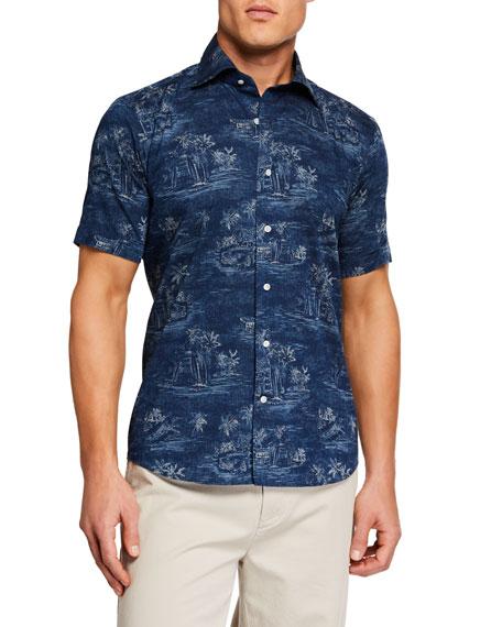 Peter Millar T-shirts MEN'S VINTAGE COAST SHORT SLEEVE WOVEN SHIRT