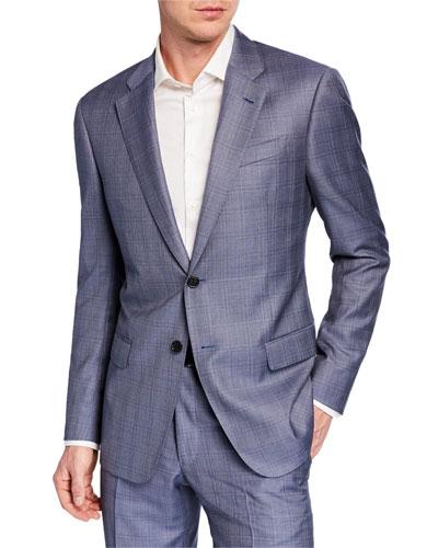 Men's G Line Super 140s Wool Plaid Two-Piece Suit