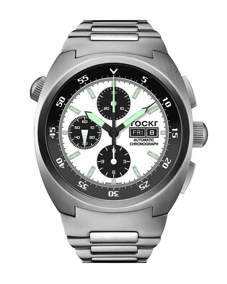 TOCKR WATCHES Men'S Air Defender Panda Stainless Steel Chronograph Watch With Bracelet in Gray