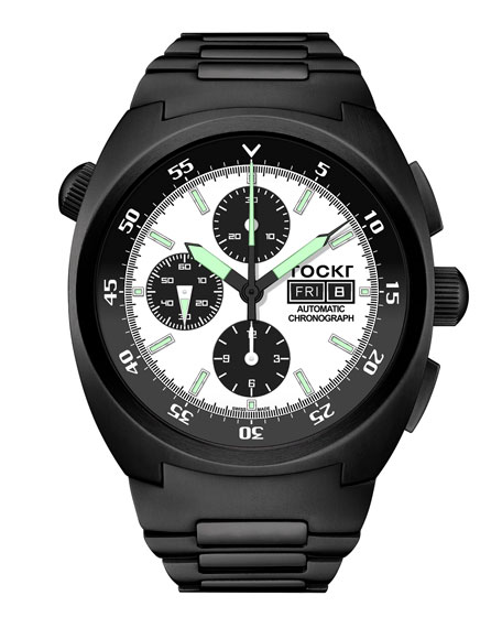 TOCKR WATCHES Men'S Air Defender Panda Stainless Steel Chronograph Watch With Bracelet, Black Pvd