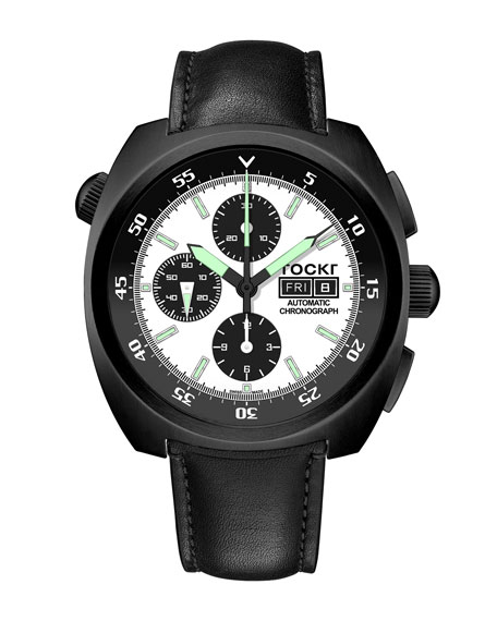 TOCKR WATCHES Men'S Air Defender Panda Chronograph Watch With Leather Strap, Black Pvd