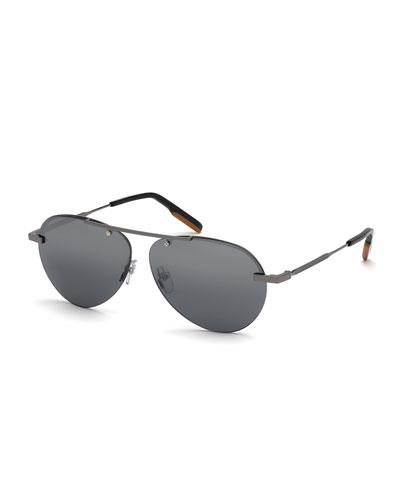 Men's Shiny Gunmetal Half-Rim Sunglasses
