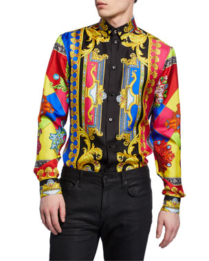 3ad9e47d6bb17 Versace Men s Multi Jewels Printed Long-Sleeve Silk Shirt