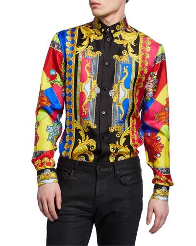 Men's Multi Jewels Printed Long-Sleeve Silk Shirt