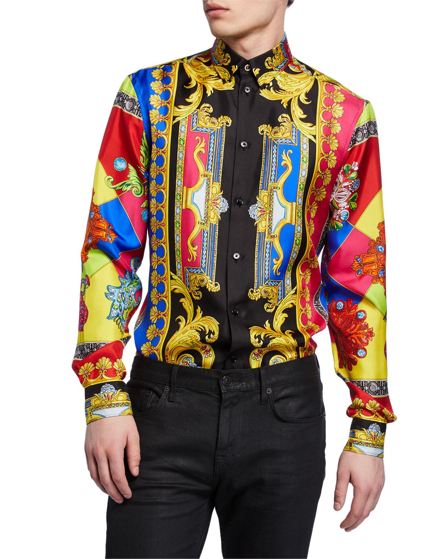c31ac667313aed Versace Men s Multi Jewels Printed Long-Sleeve Silk Shirt