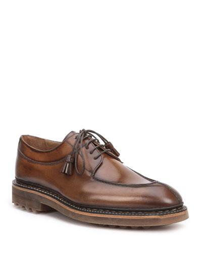 Men's Camino Split-Toe Leather Derby Shoes w/ Decorative Tassels